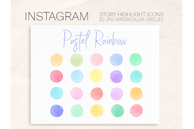 Instagram Story Highlight covers Pastel Rainbow palette