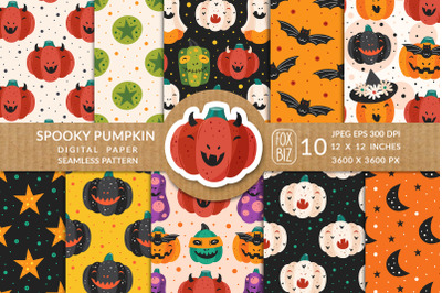 Spooky pumpkins Halloween seamless patterns.