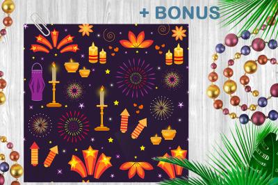 Diwali icon set + Pattern