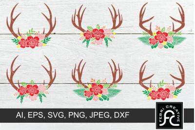 Floral Deer Antler SVG