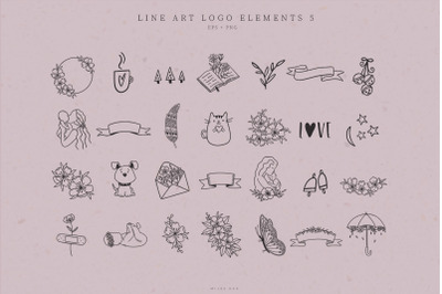 Line Art Logo Elements, Logo Design, Business card, Icons