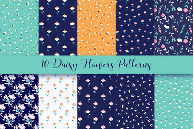 Daisy Flowers Seamless Repeat Patterns