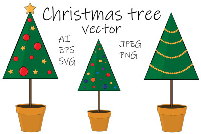Set Christmas trees vector illustration. Christmas trees SVG