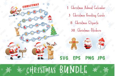 Christmas set with funny Santa, Deer and Snowman.
