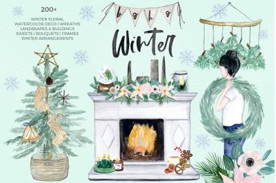 Boho Winter & Christmas Watercolor Illustrations