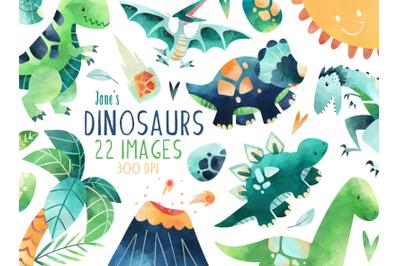 Watercolor Dinosaurs Set