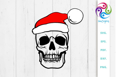 Skull With Santa Hat Svg File, Christmas Skull