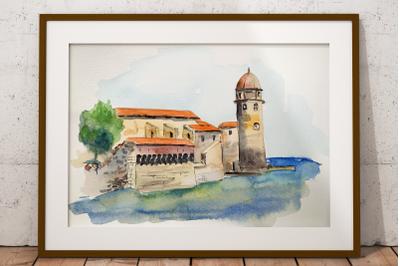 Collioure - Watercolor Clip Art and Print