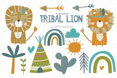 Tribal Lion clipart set