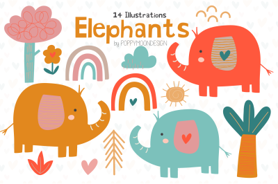 Elephants clipart set