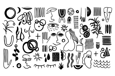 Set naive doodle abstract collection