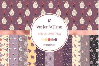 12 Ancient Magic vector patterns