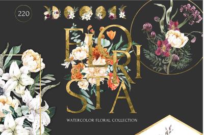 FLORISTA Huge Floral Watercolor Collection