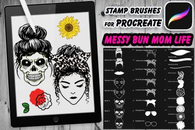 Stamp Brushes for Procreate Messy Bun Mom Life & Skull Mom for Creativ