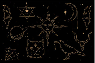 Occultism. Set of esoteric symbols. Sun, crow , cat, skull