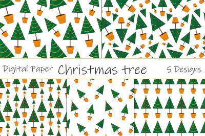 Seamless patterns Christmas trees vector. Christmas trees SVG