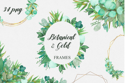 34 Watercolor Botanical and Geometric frames