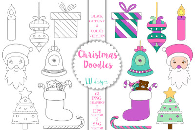 Christmas Doodles Clipart, Holidays Clipart, Vector Doodles Graphics