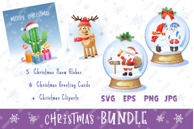 Digital Christmas set with 5 funny Snow Globes.