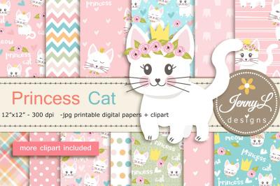 Princess Cat Plant Digital Paper and Clipart