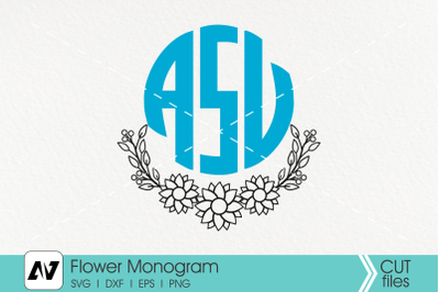 Sunflower Monogram Svg, Flower Monogram Svg, Sunflower Clip Art