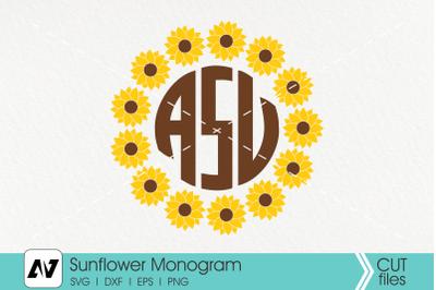 Sunflower Svg, Sunflower Monogram Svg, Flower Svg, Flower Monogram Svg
