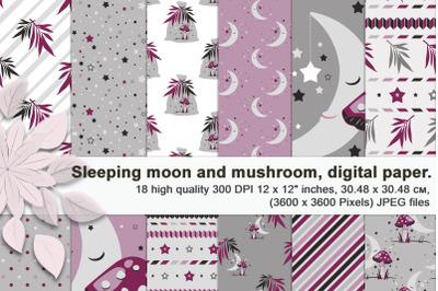 Sleeping moon and mushroom, seamless patterns