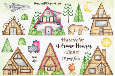 Watercolor A-Frame Houses clipart
