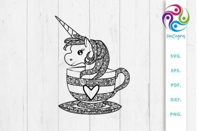 Zentangle Unicorn In A Cup Svg File