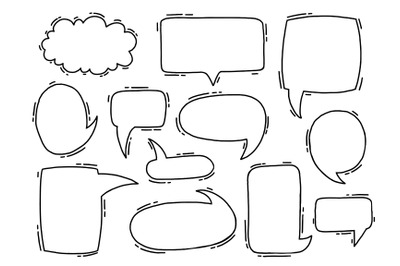 Collection hand drawn communicate speech.