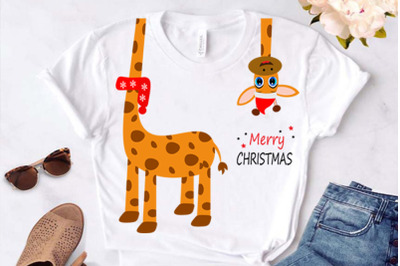 Cute giraffe Christmas clipart, svg file, card, t-shirt design. This f