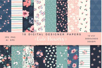 Cute Flowers. 18 digital designer papers