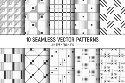 10 seamless geometric vector squares patterns