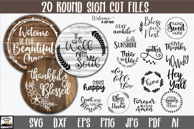 Round Sign Bundle - Round SVG Files - Farmhouse Signs