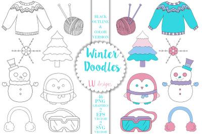 Winter Doodles Clipart, Winter Clothes Graphics, Snowflake Vectors