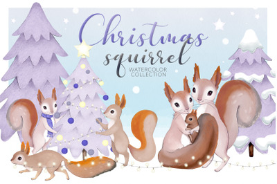 Christmas Squirrel watercolor Collection