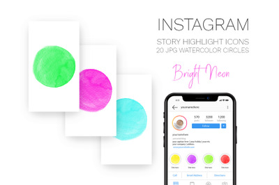Bright Neon colors Instagram Story Highlight cover