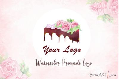 Premade Watercolor Logo Cake for Bakery