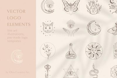 Logo Elements Vector Illustrations. Esoteric mystic symbols. Tattoos.