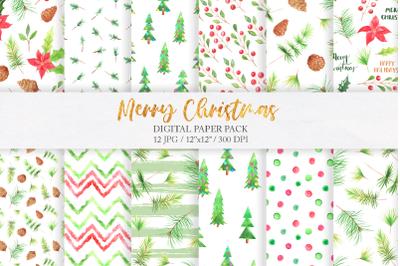 Watercolor Christmas Digital Papers Pack