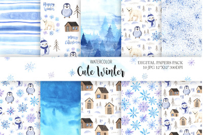 Watercolor Cute Winter Digital Papers Pack