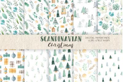 Watercolor Scandinavian Christmas Digital Paper Pack
