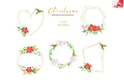 Watercolor Christmas Floral Wreaths Set