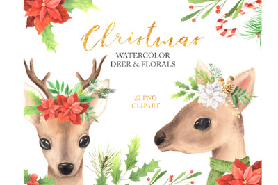 Watercolor Christmas Deer and Florals Clipart