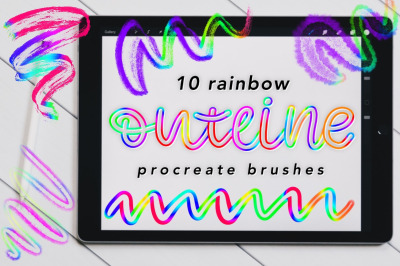Rainbow Outline Brushes for Procreate