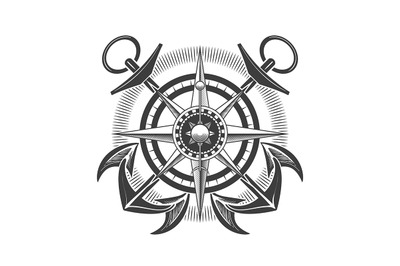 Compass Wind Rose with Anchors Nautical Emblem