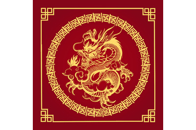Traditional Chinese Golden Dragon on Red Background