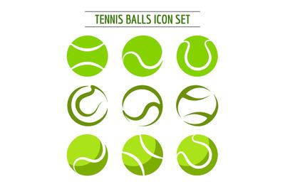 Tennis Balls Icon Set