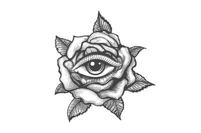 Eye Inside a Rose Flower Tattoo