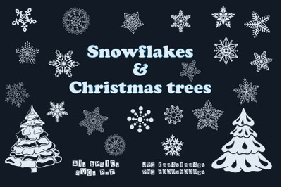 Silhouettes of snowflakes and Christmas trees